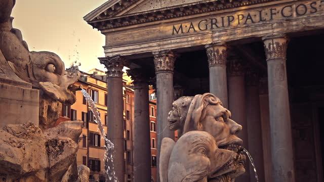 stockvideo's en b-roll-footage met pantheonfontein, rome, italië - rome italië