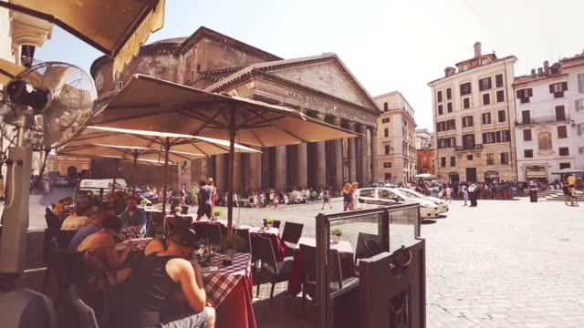pantheon square in rome - rome italy stock videos & royalty-free footage
