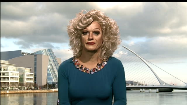 'panti bliss' drag queen provokes national debate on homophobia; england: london: gir: int panti bliss interview sot - omofobia video stock e b–roll