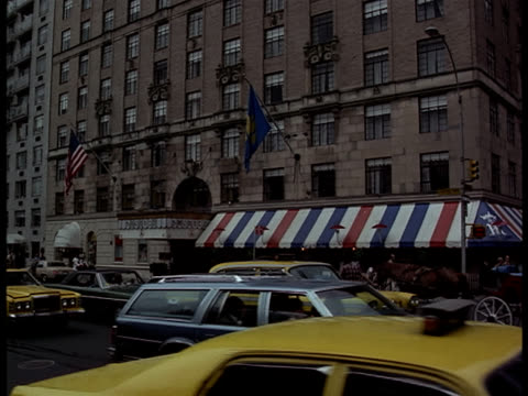 Pan-up of the St. Moritz Hotel in New York City.