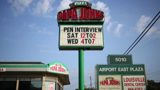 papa john's international inc. pizza restaurant is pictured in louisville, kentucky, usa, on friday, august 3, 2018. - orthographic symbol stock videos & royalty-free footage
