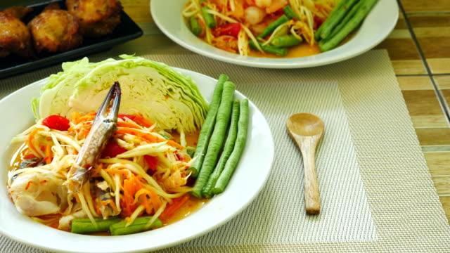 papaya salad, thai cuisine - thai food stock videos & royalty-free footage