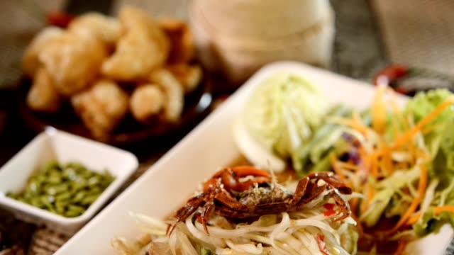 papaya salad thai famous thai food, ( som tum thai) - thai food stock videos and b-roll footage