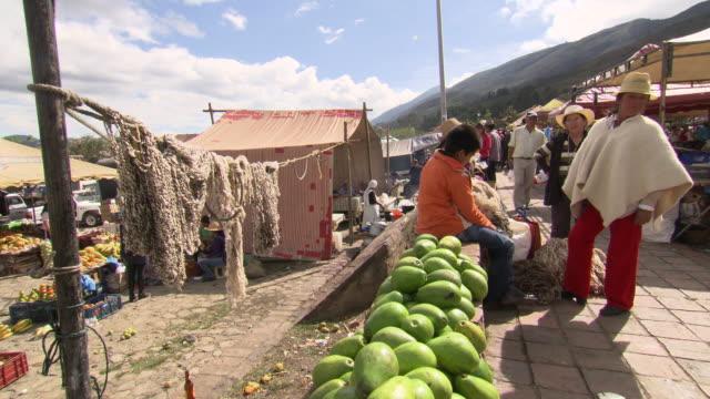 vídeos de stock e filmes b-roll de papayas, string and other produce for sale at villa de leyva market, villa de leyva, boyacã¡ department, colombia - colômbia