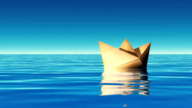 paper boat.hd720p - cartoon p stock videos & royalty-free footage