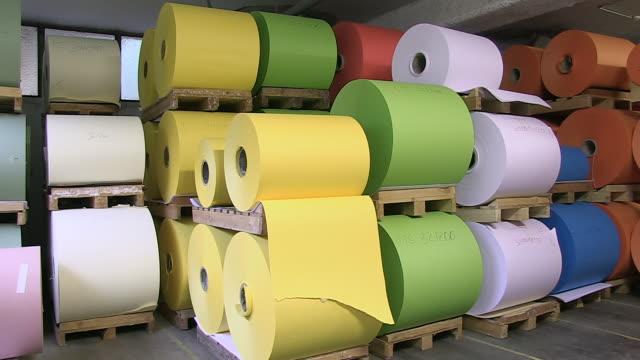 MS PAN Paper bundle store in paper mill / Gmund, Bavaria, Germany