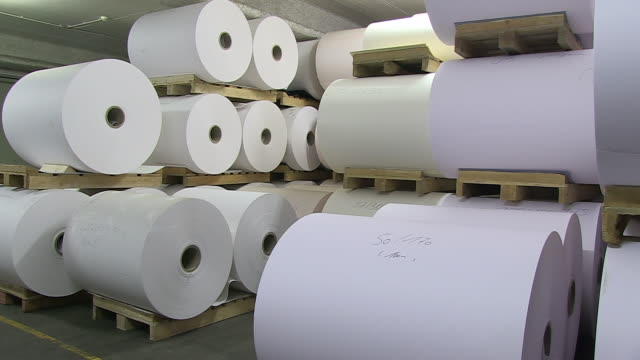 ms pan paper bundle store in paper mill / gmund, bavaria, germany - pulp stock videos & royalty-free footage