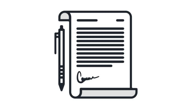 paper contract flat line icon animation with alpha - letter document stock videos & royalty-free footage
