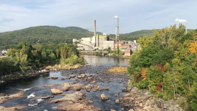 paper mill along the androscoggin river in rumford, maine usa - water pollution stock videos & royalty-free footage