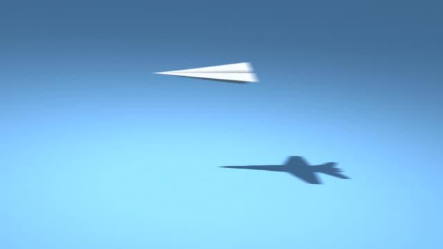 vídeos y material grabado en eventos de stock de papel f18 aviones hd loop - avión de papel