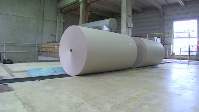 ms pan paper production at paper mill / weener, lower saxony, germany - paper industry stock videos & royalty-free footage