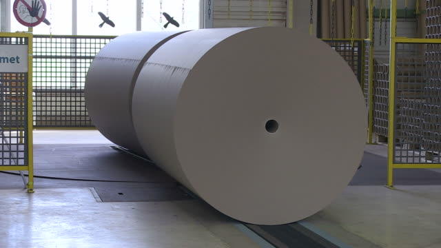 ms ts paper production at paper mill / weener, lower saxony, germany - paper mill stock videos and b-roll footage
