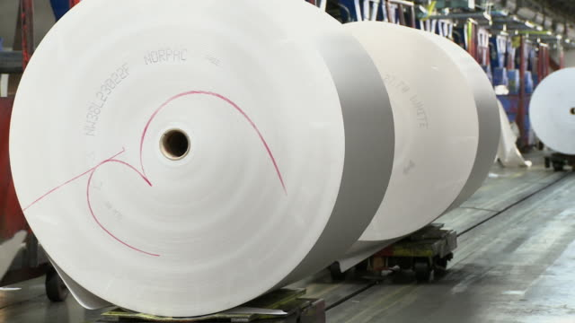 MS Paper rolls on trolleys at printing plant, San Francisco, California, USA / AUDIO
