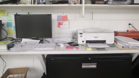 cu pan papers and printer and computer on desk in home office, scarborough, new york, usa - desk stock videos & royalty-free footage