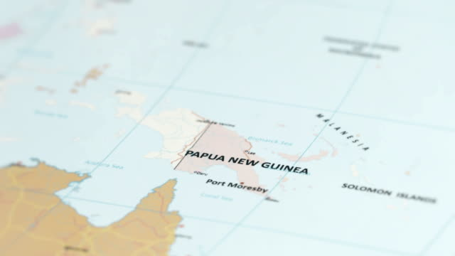oceania papua new guinea on world map - south pacific ocean stock videos & royalty-free footage