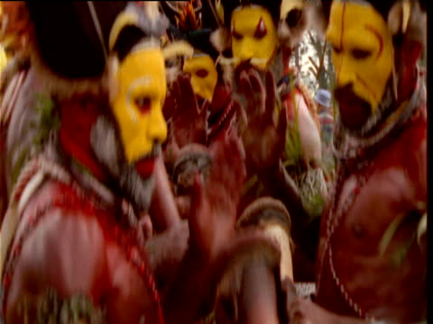 papuan villagers dance at mount hagen show, papua new guinea - traditional ceremony stock videos and b-roll footage