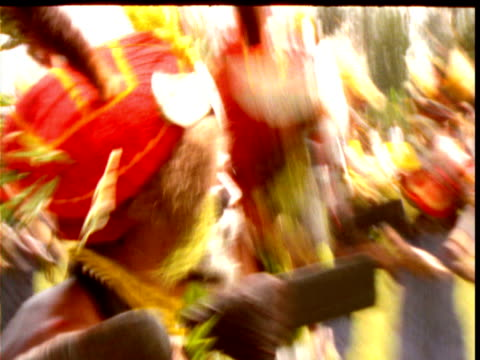 papuan villagers dance in traditional costume at mount hagen show, papua new guinea - traditional ceremony stock videos and b-roll footage
