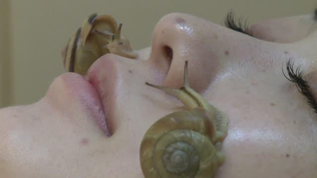 para algunas personas tener caracoles recorriendo el rostro podría parecer una pesadilla pero en japon es lo ultimo en tratamientos de belleza voiced... - mollusc stock videos & royalty-free footage