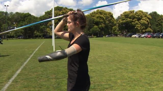 Paraathlete Holly Robinson throwing javlin