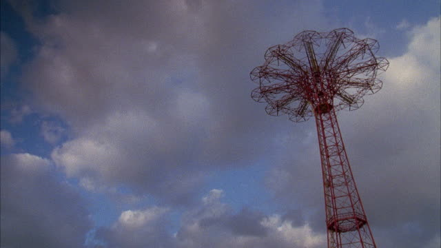 parachute jump amusement tower ride iconic landmark us military paratrooper training wwii - steeplechase stock videos and b-roll footage
