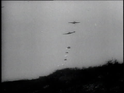 parachuters jump out of an airplane and land on the ground / corregidor philippines - isola di luzon video stock e b–roll