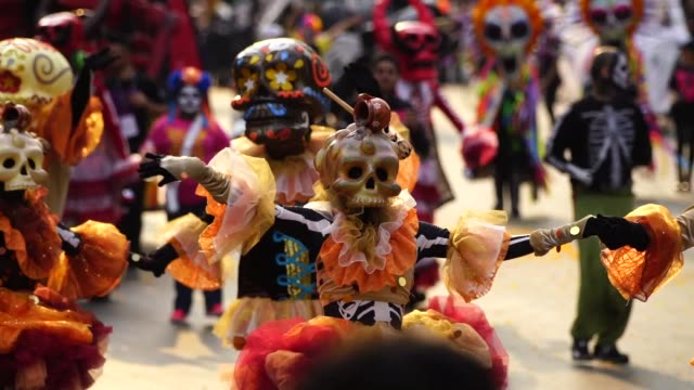Parade of Day of the Dead celebrated in Reforma avenue on October 28 2017 in Mexico City Mexico The religious syncretism which combines catholic and...