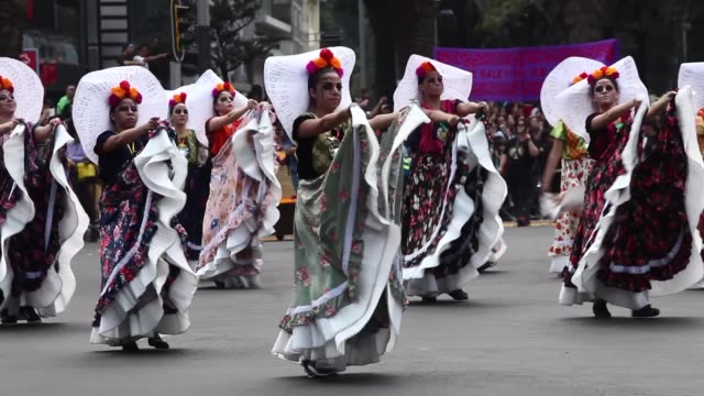 parade of day of the dead celebrated in reforma avenue on october 28 2017 in mexico city mexico the religious syncretism which combines catholic and... - parade stock videos & royalty-free footage