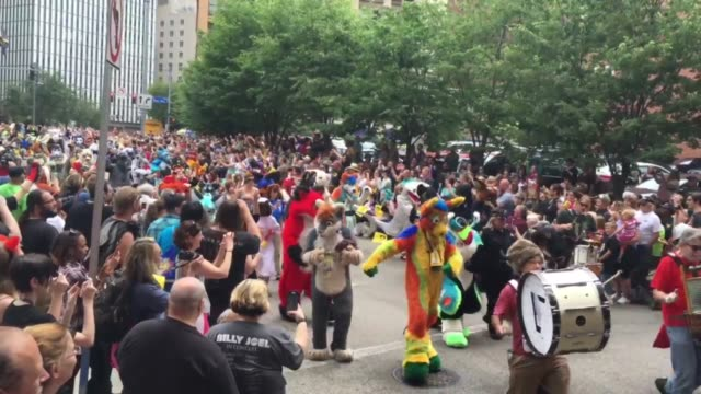A parade of 'furries' at Anthrocon 2016 in Pittsburgh the world's largest convention for anthropomorphics