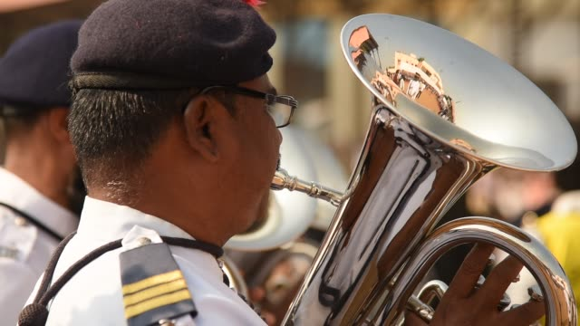 parade of india republic day - trombone stock videos & royalty-free footage