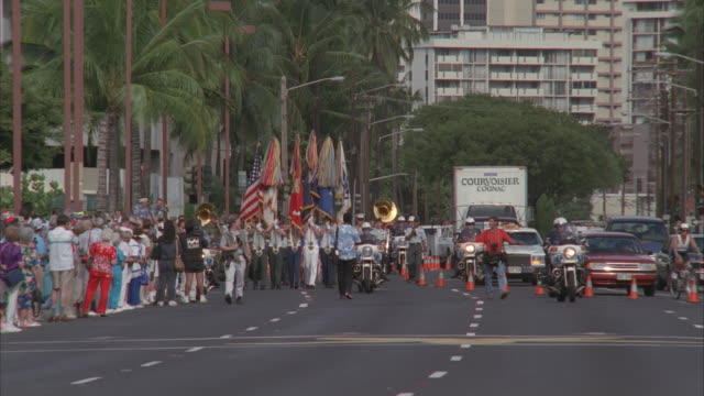 MS, Parade of Pearl Harbor survivors, Pearl Harbor and Honolulu, Hawaii, USA