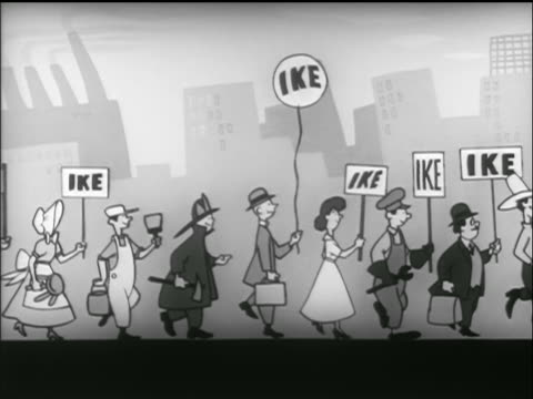 animation parade of people with ike signs march in street / tv commercial - anno 1952 video stock e b–roll