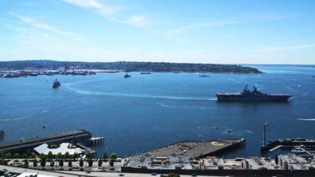 parade of ships & flight in elliott bay as part of seafair fleet week - filiz stock videos & royalty-free footage