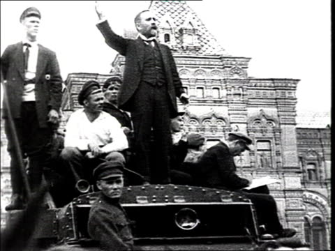 parade of the vsevobuch on red square. kamenev makes a speech from the roof of the truck . workers army parade on red square, training soldiers... - 1918 stock videos & royalty-free footage
