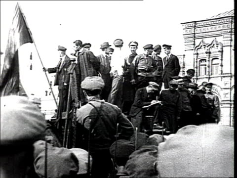 Parade of the Vsevobuch on Red Square The chairman of the Vth AllRussian Council of Soviets Sverdlov He addresses the meeting from the roof of a...