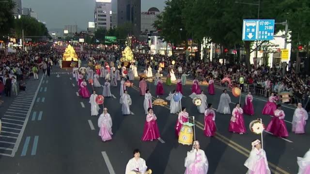 ms parade on buddha's birthday event in jongro street / seoul, south korea - buddha's birthday stock videos and b-roll footage