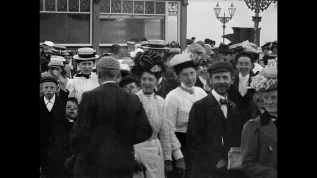 parade on west end pier morecambe 1901 - edwardian style stock videos & royalty-free footage