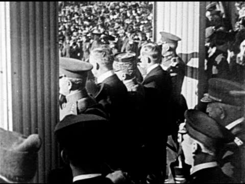 parade spectators ws behind generals watching parade veterans marching in uniform in street chief of staff of us army general john j pershing walking... - 1921 stock-videos und b-roll-filmmaterial