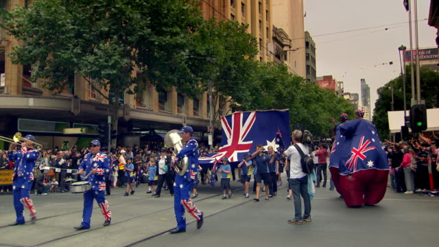 A parade takes place in Melbourne to celebrate Australia Day.