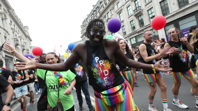 gif paradegoers during pride in london 2019 on july 06 2019 in london england - pride stock videos & royalty-free footage