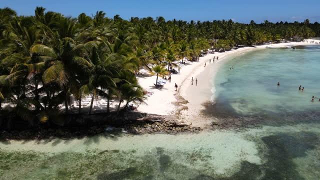 空からパラダイスビーチ - ドミニカ共和国点の映像素材/bロール