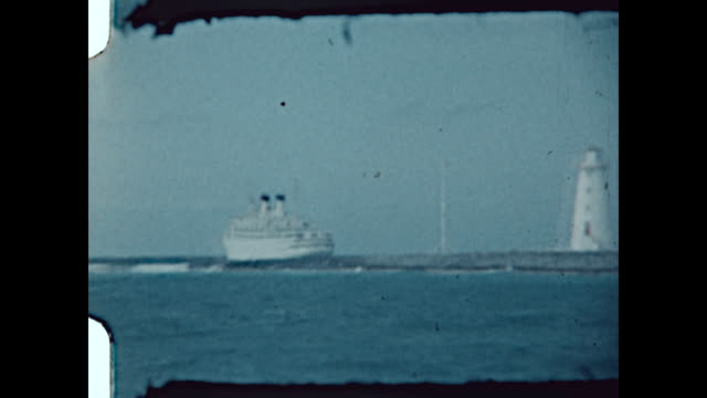 Paradise Island Lighthouse and cruise ship in the Bahamas in the mid 1950's
