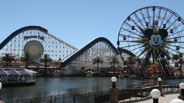 september 02: paradise pier in disney california adventure park, which is part of the entertainment resort disneyland in anaheim, california in the... - anaheim california stock videos & royalty-free footage