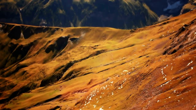 paraglider flying over jungfrau and schilthorn - paragliding stock videos & royalty-free footage