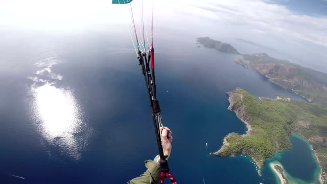 POV Paraglider Flying Over The Mediterranean Sea