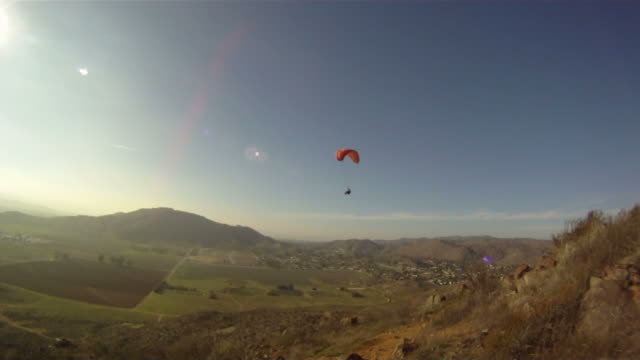 Paraglider Glides Back And Forth, 2Nd Paraglider In The Distance