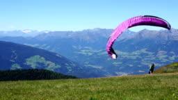 Paraglider on the start
