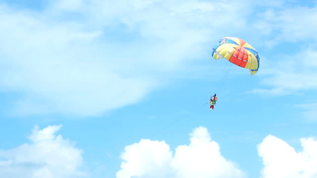 HD: Paraglider Soaring Over The Beach