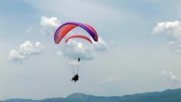HD paragliding in blue sky