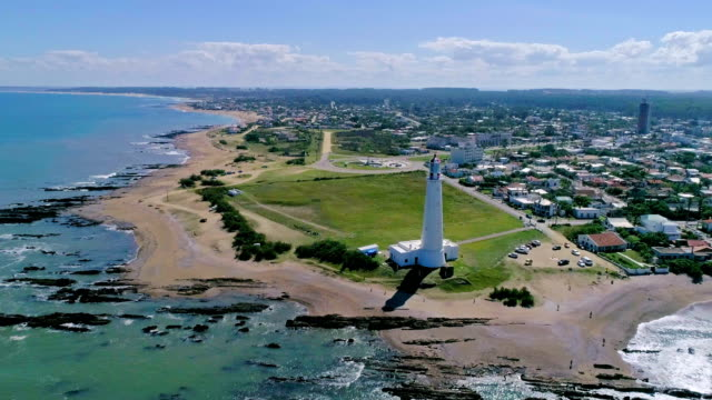 paragliding over la paloma lighthouse in rocha department, uruguay - sedative stock videos & royalty-free footage