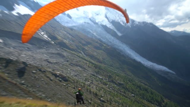 paragliding-take off - gliding stock videos and b-roll footage